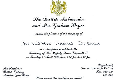 Queen's Birthday Invite